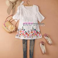 2014Summer women's embroidered lace collar medium-long shirt skirt cute shirt