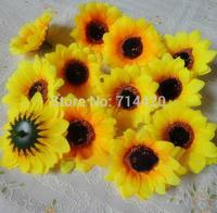 100pcs/lot  2.8'' Artificial Flowers Silk sunflower heads Flower Simulation flowers Decorative for Party wedding Home Wholesale