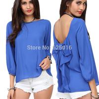 Fashion women 2014 Summer Chiffon Loose Backless Bow Blouses Chiffon Shirts Summer Women's Blouse TOP Plus Size LR0031
