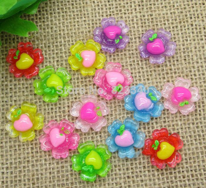 100Pcs Mixed Resin Strawberry Flower Flatback Cabochon Scrapbook Fit Phone Embellishment 19x19mm(China (Mainland))