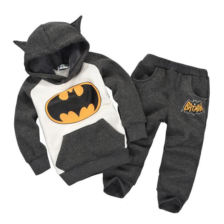 Vendita al dettaglio nuovo moda 2014 i bambini abiti tuta abbigliamento batman i bambini felpe + bambini pantaloni sport i ragazzi costume abbigliamento set