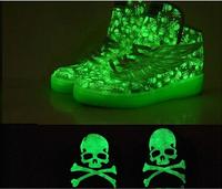 35-45 Free shipping 2014 new canvas shoes leopard shoes big tongue luminous fluorescent shoes for men and women Hip-hop shoes