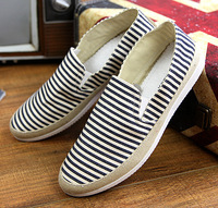 England Mens shoes Flat Canvas shoes Stripe Breathable Casual Shoes Cork Men's shoes Thomas Loafers on Shoes 047