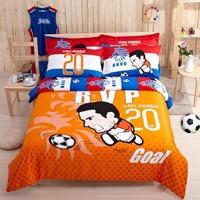 Football team world cup messi rooney ronaldo cartoon children room 3-4pcs 100% cotton bedding set sheet quilt pillow cover