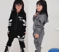 children's boys shampooers coat set boy girls sets sports suit hoodies jacket+Harem pants autumn wear clothing jackets 5sets/lot