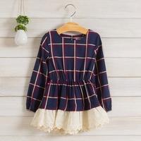 2014 New,girls plaid dress,children autumn princess dress,long sleeve,lace hem,cotton,beige/blue,5 pcs / lot,wholesale,1535