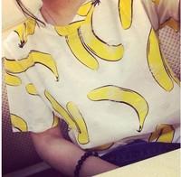 New 2014 Summer Korean Retro Hollow Out Bananas Print Cotton  Short Sleeve T-shirt Tops Loose  girl t shirt women Free Shipping
