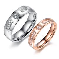 Lovers ring titanium 18k brief rose gold diamond finger ring n417