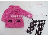 baby girls suits kids children sets coat+ t shirt+ pants outfits 3 pc set girls clothes #3503