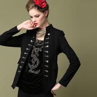 Women Brand Vintage Personalized small blazer 2014 Autumn Fashion Long sleeve Black Outerwear ladies short jacket