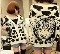 Loose hair a tiger head printed long-sleeve cardigan knitting sweater