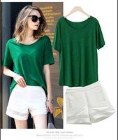 T Shirt & Pants 2pcs/ Set 2014 New Women's Short Sleeve Clothing, crop top and skirt set sport suit women brand