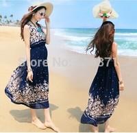 2014 New Arrival Sleeveless Print Chiffon Long Dress For Women In Summer Bohemian Fashion Causal Style Women's Dress On Beach