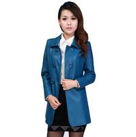 WPY01 2014 New Winter Long Double-Breasted Coat Lapel Slim PU Leather Jacket Women'S Size M-4XL