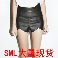 2014 high waist leather shorts PU small shorts small placketing leather pants