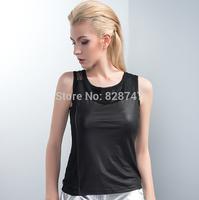 Free shipping MOFFI Brand Camisole Top Good quality  PU Gauze Unique Women's Vest 2014 New arrival Hot Sale Cheap wholesale