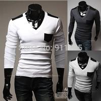 new 2014 Autumn Mixed colors Pocket  T shirts men casual slim fit V-neck Splice T-shirts for men Rendering shirt,M-XXL,T11
