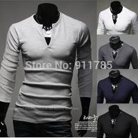new 2014 Autumn Unique V-neck design T shirts men casual slim fit solid color T-shirts for men Rendering shirt,M-XXL,T13