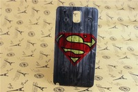Grain of Wood Superman Pattern Battery Back Case Cover Skin For Samsung Galaxy Note 3 III N9000