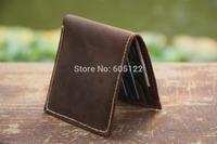 Handmade Leather Wallet Groomsman's Gift Distressed Leather Card Bag Change Pocket Billfold - V014