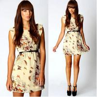 2014 New Style European Hot Sale Brand Fashion Casual Butterfly Flower Chiffon Women Summer Dress
