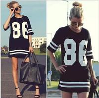 New 2014 Summer Women Celebrity Oversized 86 American Baseball Tee T Shirt Top Short Sleeve Loose Dress, Black, M, L, XL