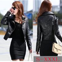 2014 New Winter Women PU Leather Jacket Suede Coats Black Long-sleeve Zippers Slim Short Coat Plus Size S-XXXL 35