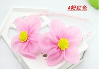 Hot Sale Kids Girls Pearl Flower Hair Sticks Child Chiffon Flower Hairband Children Girls Princess Hairpins 30pcs/lot