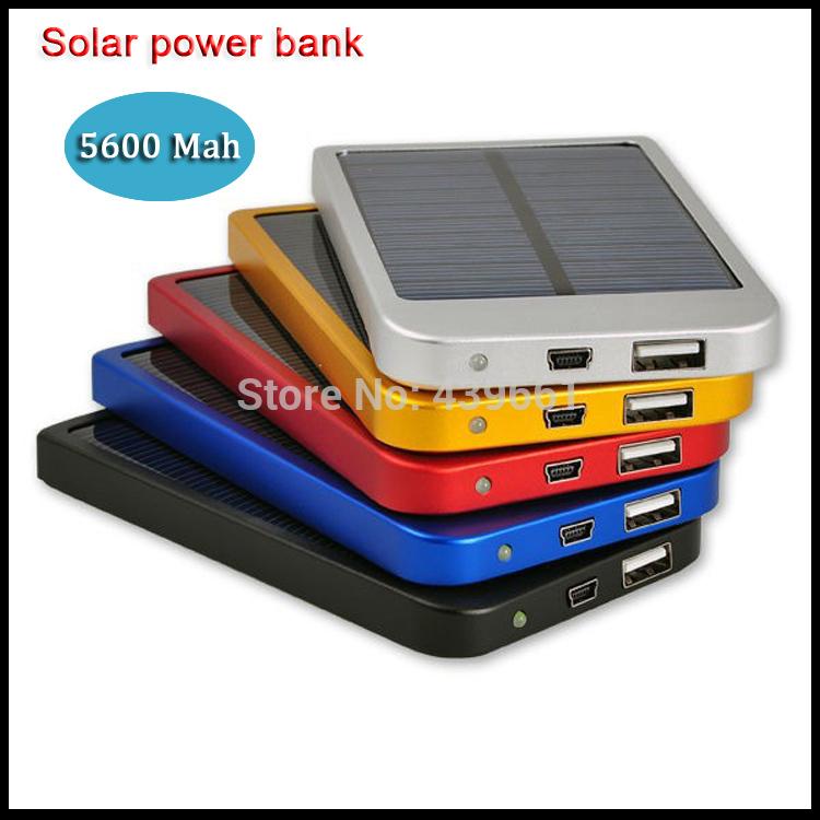 1pcs Free shiping Solar Charger Power Bank 5600 mAh New Portable Charger Solar Battery External Battery Charger Powerbank(China (Mainland))