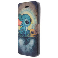 Factory Sales Patterns Leather Case for iPhone 5 5s Turtle Rabbit PU Cover Phone Cases Free Shipping