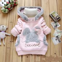 Retail!New 2014 Children Clothing Cartoon Rabbit Fleece Outerwear girl fashion clothes/ hoodies jacket,Children's hooded coat