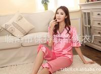 Nightwear Lady Faux Silk Pajamas twinset Sets Sleepwear with double bowknot w/rhinestone 5sets Free Shipping & Drop Shipping