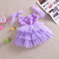 2014 summer Girls 2 -- 6 year Ruffle Tank Top dress / Solid chiffon rose flower Voile Dress   . free shipping