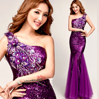 2014 New Lady Purple Beading Embroidery Sequins One Shouder Mermaid Long Formal Party Gown Prom Evening Graduation Dresses