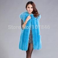 2014 Lady Fashion Genuine Natural Whole-hide Fox Fur Vest Waistcoat  Winter Women Fur Gilet Outerwear Coats VK1473