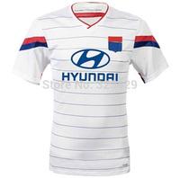 top thailand quality 2015 jersey lyon soccer jersey 14 15 olympique lyonnais home white short sleeve shirt free shipping custom