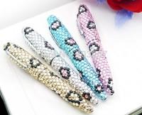 2014 Hot Free shipping(50pcs/lot) wholesale Fashion 10.5cm twist leopard jeweled ball pen cute gift pen