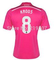 New 14/15 Real Madrid away #8 TONI KROOS pink shirt 2014/15 Cheap Soccer Uniforms Football kit