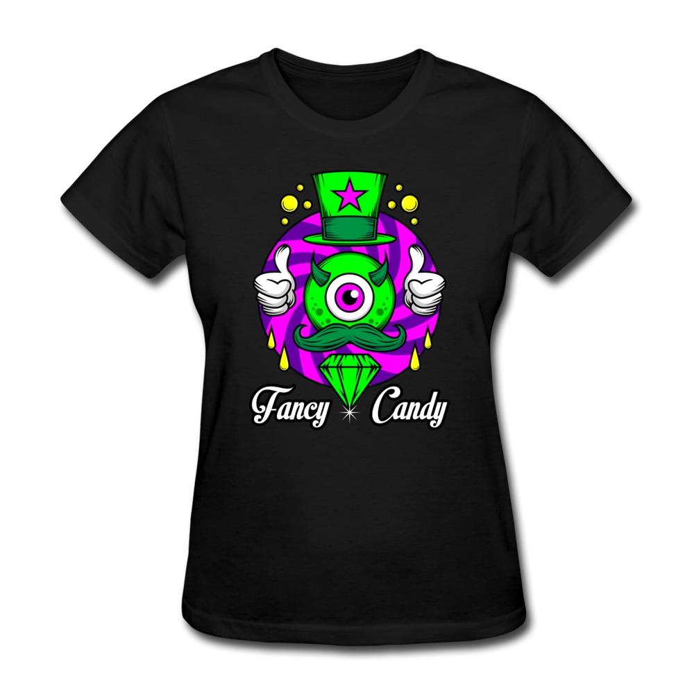 Good Quality Casual T Shirt WoMan Fancy Candy Print Vintage Texts T Shirts Women(China (Mainland))