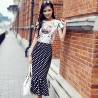 Women's Sweet White O-Neck Dot Mid-Calf Straight Long Dress