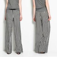 New 2014 Summer Women's Long Loose Pants Black White Stripe Cargo Pants Waist Stripe Chiffon Wide Leg Pants Trousers M L XL