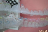 White double layer  ruffle  Lace Trim ,    doll , sewing DIY  2.5cm