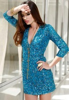 2014 New High Fashion  Custom Made  Sexy Knee Length Prom Dresses V-NECK  Cocktail Dress Evening Dress