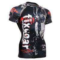 All in one Men's  Fixgear Fitness Compression  Tights Base Layers Bodybuilding t shirts Running Sports Short Sleeve Tops CFS05