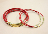 Genuine Leather Bracelet with Gold or Silver Tube Accents Bohemian Stackable Bangle Red Free Shipping