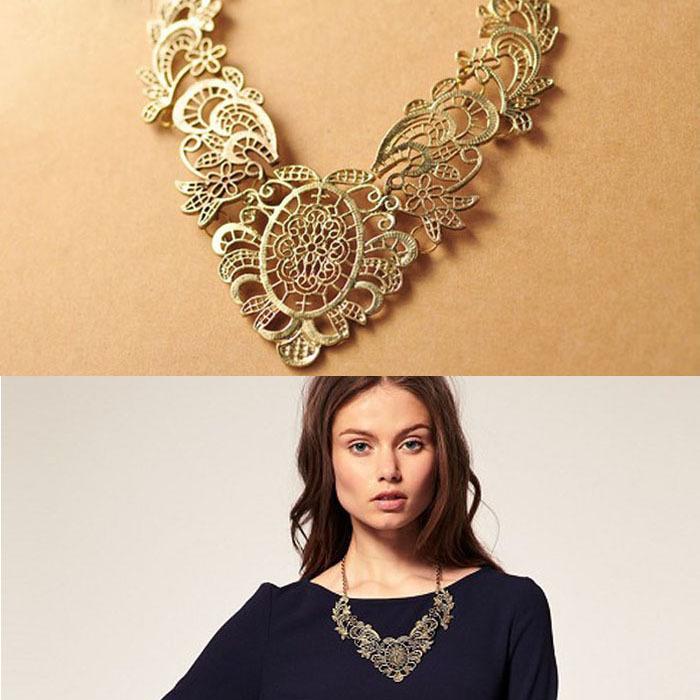 Sanwony Fashion Retro Women's Lady Lace Metal Chain Necklace Choker Collar Freeshipping&Wholesale(China (Mainland))