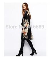 Shawl AS*s new loose European style street cool flower print long kimono sun portective cardigan mantle