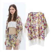 Shawl ZA New loose European style street cool flower print tassel kimono sun portective cardigan mantle