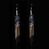 New Arrival Top Handcrafted Jewelry Fashion Long Chain Pendant Crystal Drop Earrings for Women (My mini order is $10)