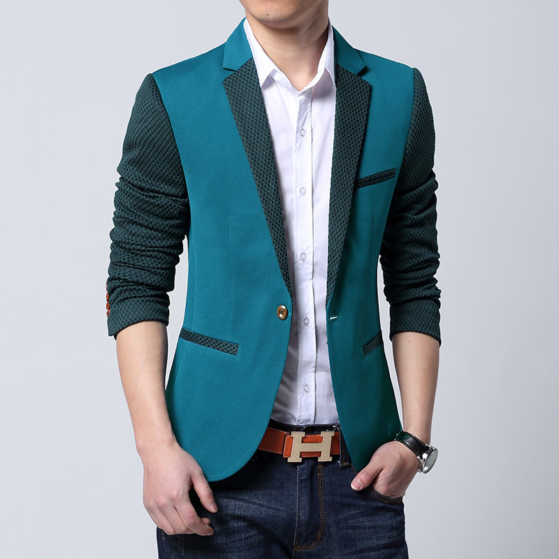 New 2014 Fashion blazer men Casual Suit Jacket Slim Thin mens blazers blue blazer suits for men free shipping(China (Mainland))